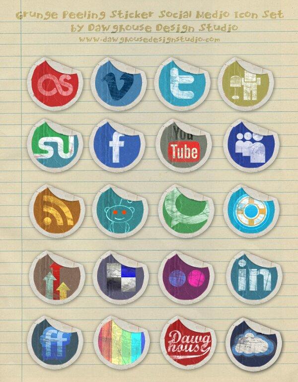 Grunge Peeling Stickers Social Media Icônes
