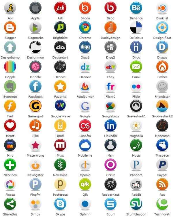 Pretty social icônes