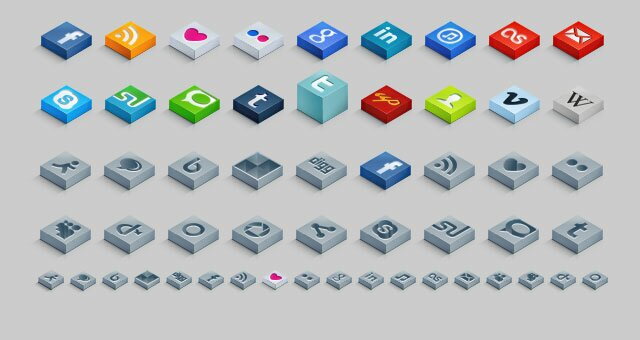 Isometric 3D Social Icons Set
