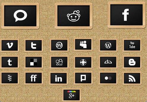 Icônes sociales ardoise