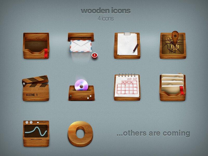 Dock icônes bois