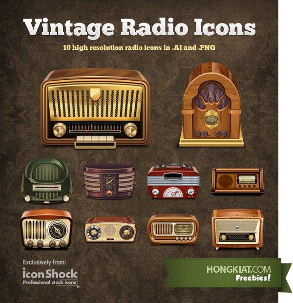 Icônes radio vintage