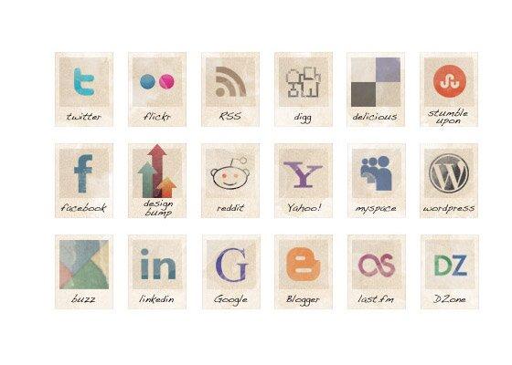 Vintage Social Icones