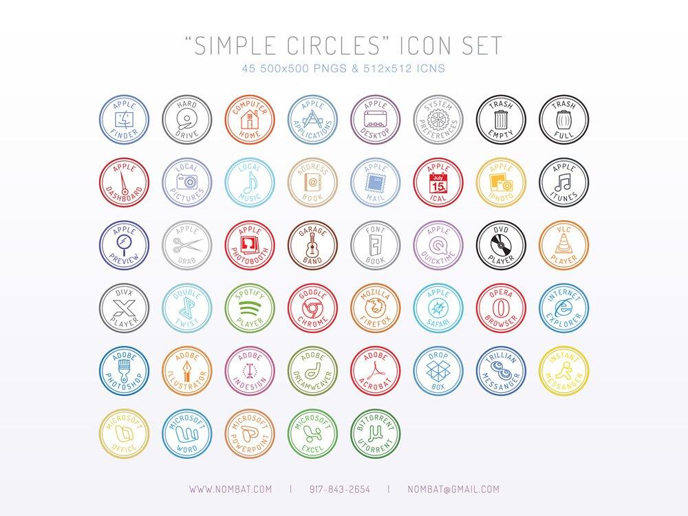 Icônes circulaires simples