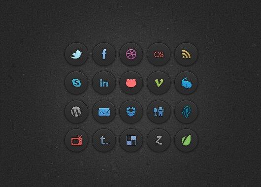 Dark Social Media Icones