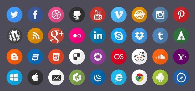Flat social icones