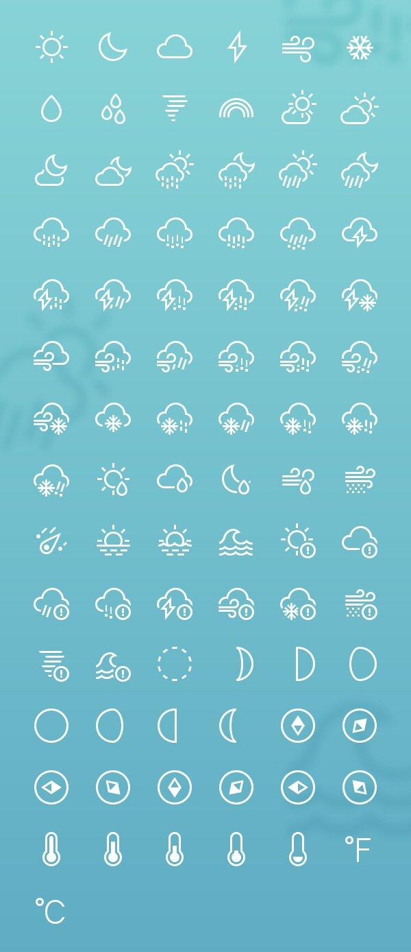 Icones météo minimalistes