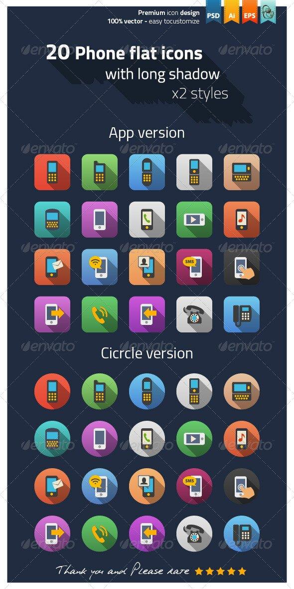 20 phone flat icones