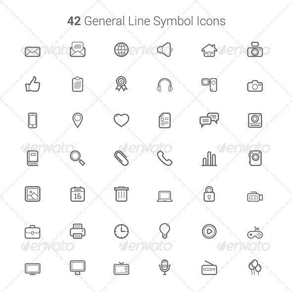 42 General line symbol icones