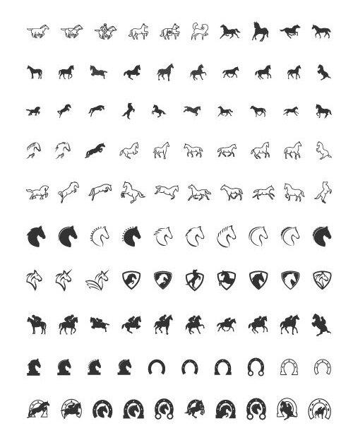 100 icônes de chevaux