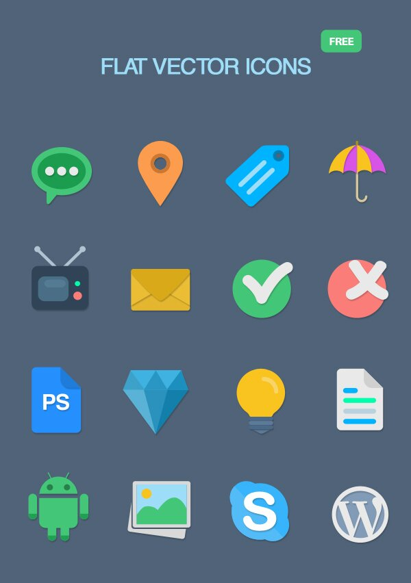 16 icônes flat