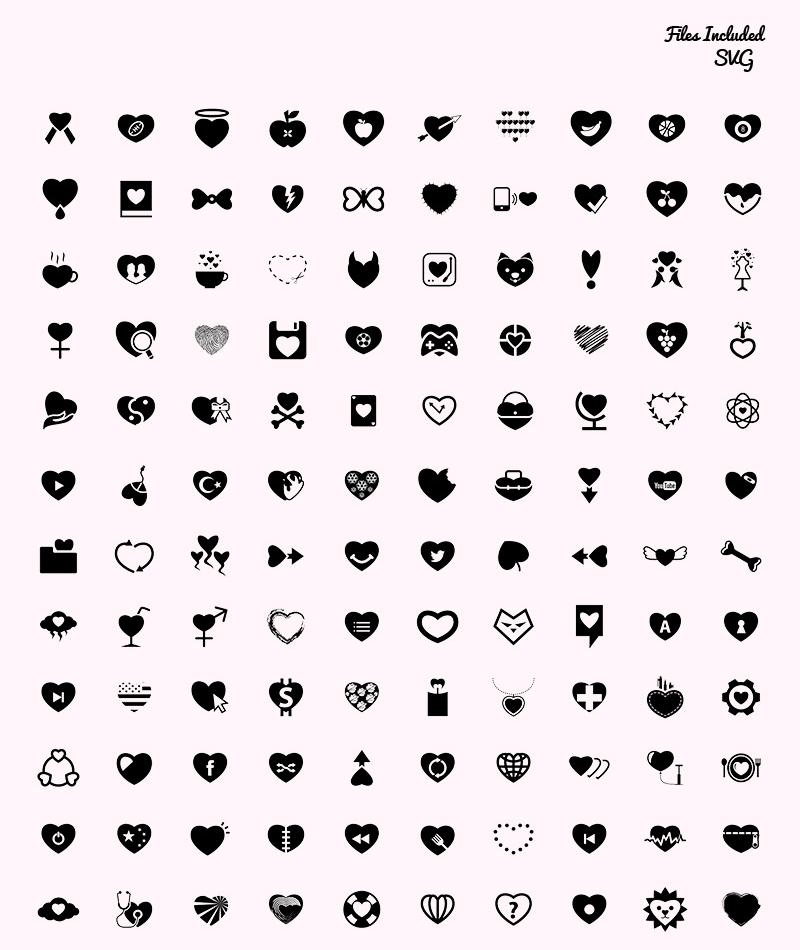 200 icônes coeur