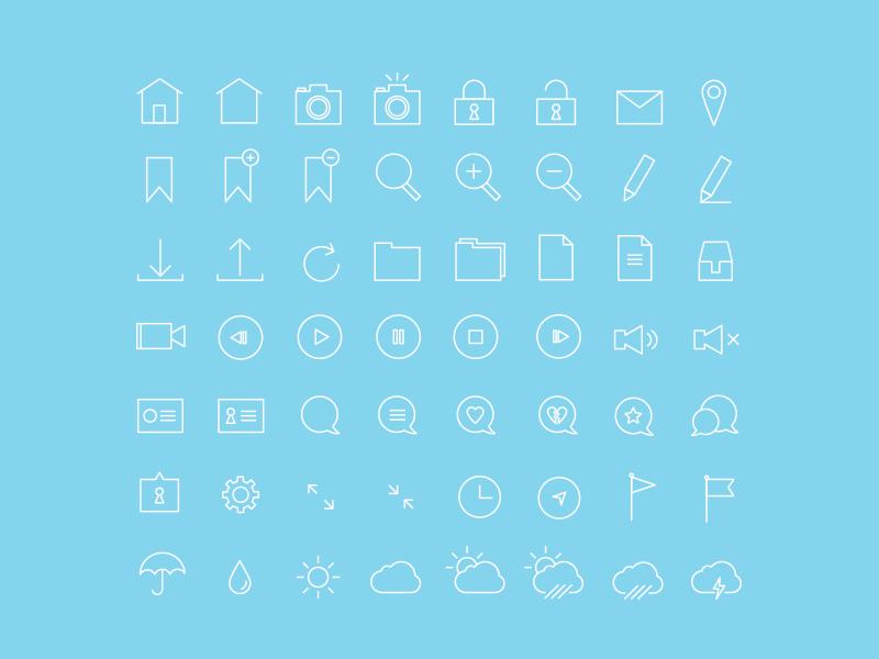Thin Stroke 56 Icon Set