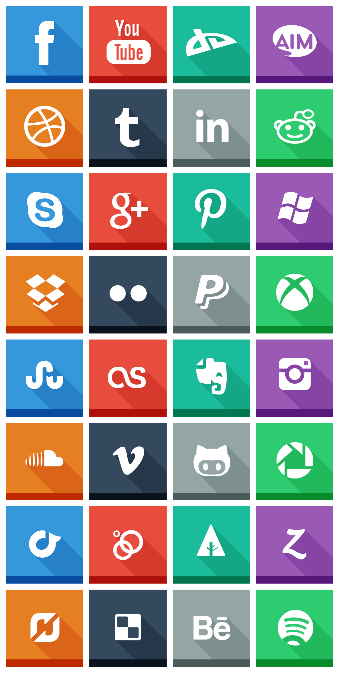 32 Flat social icons